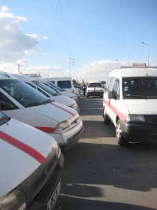 Louages are taxi minivans